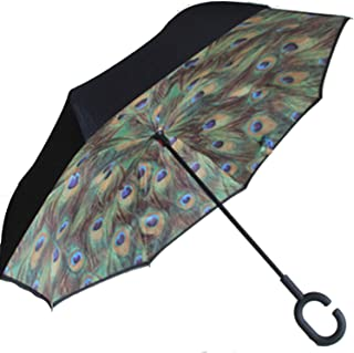 Folding C Handle Windproof Double Layer Upside Down Inverted Reverse Umbrella,Peacock