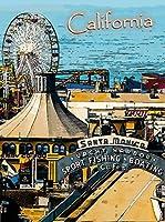 ERZAN壁の装飾牌サンタモニカ埠頭ビーチカリフォルニアアメリカ合衆国旅行広告金属のブリキ看板20x30cm