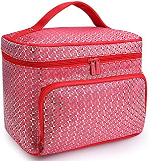 SODIAL Red Diamond Big Capacity Women Cosmetic Bag Cosmetics Organizer Travel Necessaries Waterproof Makeup Bag Multifunction Toiletry Makeup Bag