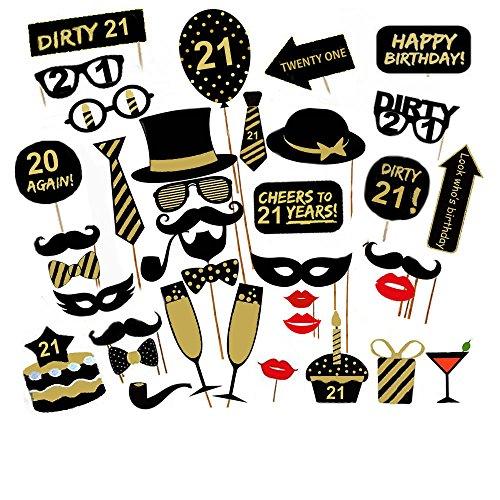 Veewon 21 ° Compleanno della Foto del Partito della Foto Props Unisex Divertente 36pcs Kit DIY Adatto per la Sua o la Sua Celebrazione 21 Compleanno Cabina Fotografica Puntello