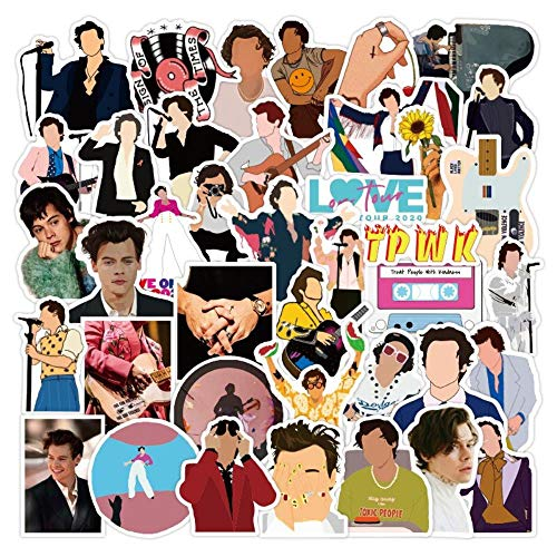 Aesthetic Stickers Cute 50 pcs Famous Singer Harry Edward Styles Stickers Car Laptop PVC Backpack Home Decal Pad Bicycle waterproof Decal