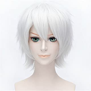 Flovex Short Straight Anime Cosplay Wigs Natural Sexy Costume Party Daily Hair (Silver White)