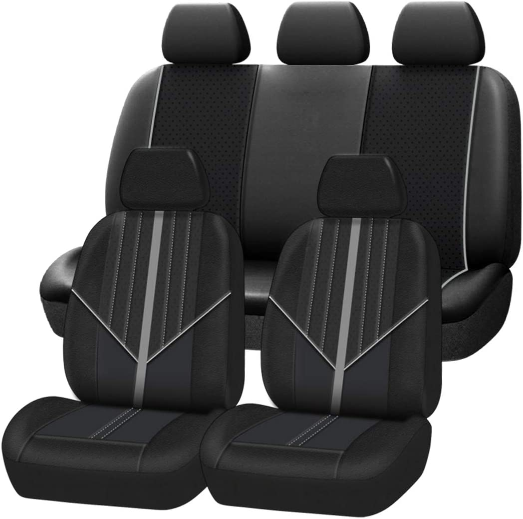 CAR-GRAND Unviersal Luxury Leather Car Seat Covers Full Seat Cover Fit for Car Truck SUV Airbag Compatible Black with Blue