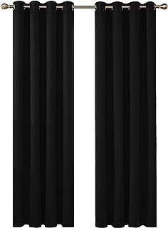 Deconovo Cortinas de Salon para Ventana Habitación con Aislamiento Térmico Anti Ruido 2 Piezas 140 x 245 cm Negro
