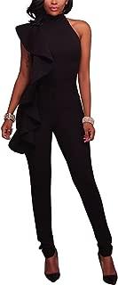 Women's Sexy Thin Ruffle Strapless High Waist Clubwear Long Wide Leg Pants Jumpsuit Rompers