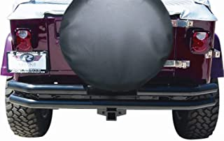 RAMPAGE PRODUCTS 7648 Black Double Tube Rear Bumper with Hitch Receiver for 1976-2006 Jeep CJ, Wrangler YJ & TJ