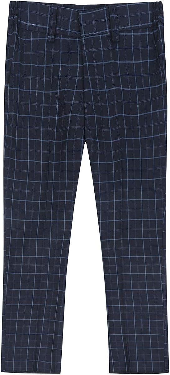 Boys Plaid Suit Formal Dress 4 Pieces Blazer Vest Pants Bowtie for Wedding