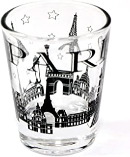 Paris France Black Landmarks Collage Shot Glass