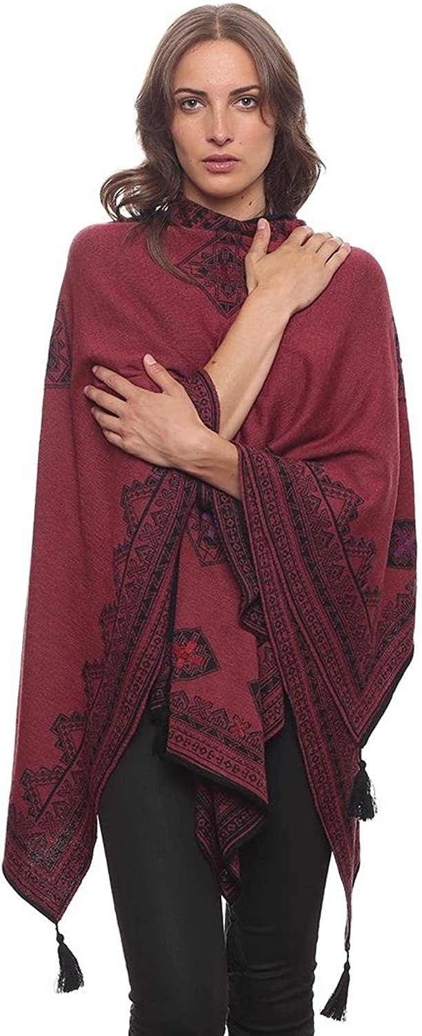 Invisible World Women's Reversible 100% Baby Alpaca Hand Embroidered Poncho