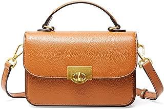 Fashion Simple and Versatile Compact Bills Shoulder Slung Leather Handbags (Color : Brown)