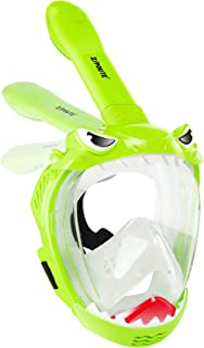 Full Face Snorkel Mask for Kids, Shark Shape Kids Snorkeling Set 180 Degree Panoramic View, Safe Anti-Leak Anti-Fog, Folda...