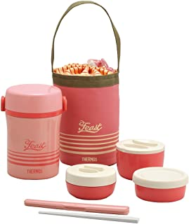THERMOS 不锈钢便当盒 午餐盒 约0.6合(约0.1L )珊瑚粉红 JBC-801 CP