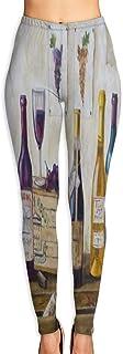 Cyloten Wooden Bottle Wine Grape Yoga Pants Vivid Printed Women's Non-Fading Sportswear High Elastic Leggings