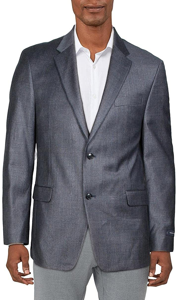 Tommy Hilfiger Mens Plaid Two-Button Suit Jacket Blue 42R
