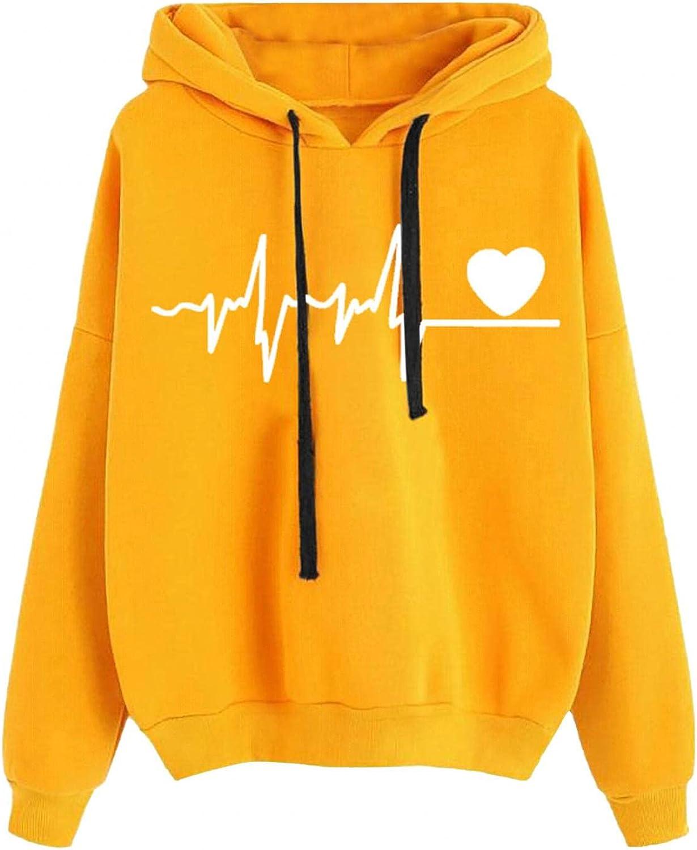 Toeava Women's Hoodie Sweatshirt Heart Graphic Print Long Sleeve Drawstring Pullover Casual Tops Sweatshirts
