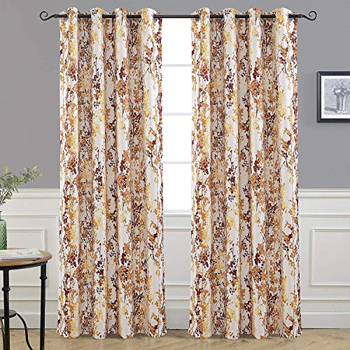DriftAway Leah Abstract Floral Blossom Ink Painting Room Darkening Thermal Insulated Grommet Unlined Window Curtains 2 Panels Each Size 52 Inch by 84 Inch Red Rust Orange Gold Yellow