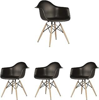 N/A Juego de 4 sillas de Cocina Modernas Sillas de Comedor escandinavas Chaise Longue Sillas de café Silla Lateral Diseño Retro con Pata de Haya Maciza (Negro)