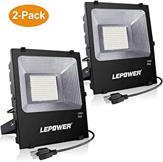 LEPOWER 2 Pack 150W LED Flood Light Outdoor, 11000lm Super Bright Work Lights with Plug, 6000K White Light, IP66 Waterproof Outdoor Floodlights Fixtures for Garage, Playground, Basketball Court,Yard