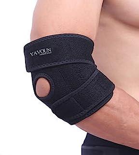 پشتیبانی از آرنج، آرنج آرنج قابل تنظیم تنیس آرنج، بزرگ برای آرنج های اسپری، تاندونیت، آرتروز، بسکتبال، بیس بال، آرنج گلف بازنده و انگشتان دست (سیاه)