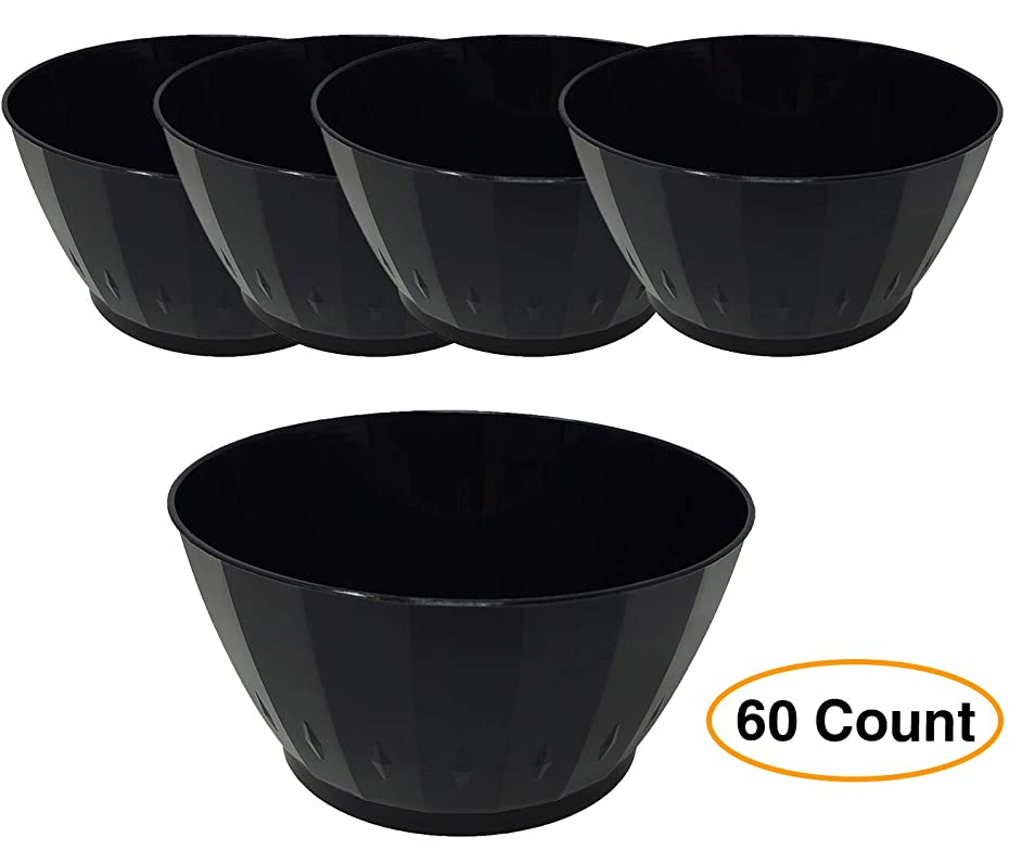 Black Bowls Elegance Disposable Plastic | Small 6 oz. for Parties | Deluxe Fruit, Nut, Dessert Salsa Dinnerware (60 Count)