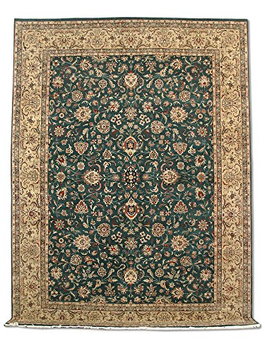 Pak Persian Rugs Handgeknüpfter Sultanabad Teppich, Sattes Grün, Wolle, Large, 274 X 367 cm
