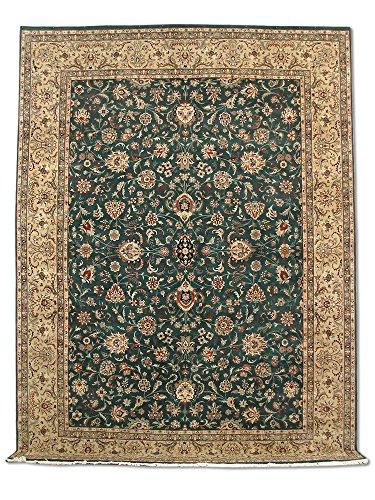 Traditionele Perzische handgemaakte Sultanabad tapijt, wol, diep groen, groot, 274 X 367 cm, 9' x 12' (ft)