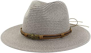 Summer Hat Women Panama Straw Hat Fedora Beach Vacation Wide Brim Visor Casual Summer Sun Hats for Women Sombrero 2019` TuanTuan (Color : Gray, Size : 56-58CM)