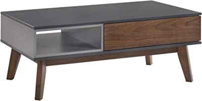 Benjara 1 Drawer Wooden Coffee Table with Open Compartment, Brown, Gray