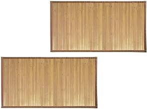 mDesign Soft Bamboo Rectangular Spa Mat Rug Fabric Trim, Water Resistant Bathroom Vanity, Bathtub/Shower, Easy Clean, Envi...
