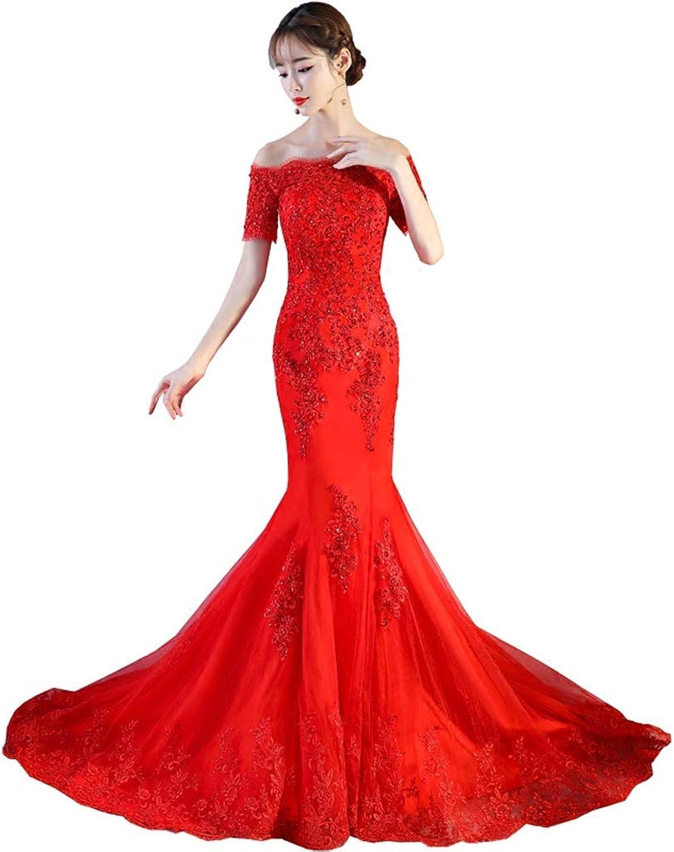 Red Lace Boho Mermaid Wedding Dresses Half Sleeves Off The Shoulder Beach Bridal Dresses Elegant Wedding Gowns (Size   M)