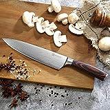 PAUDIN Kochmesser Küchenmesser 20cm Profi Messer Chefmesser Allzweckmesser aus hochwertigem Carbon Edelstahl, Extra Scharfe Messerklinge mit ergonomischer Griff - 4