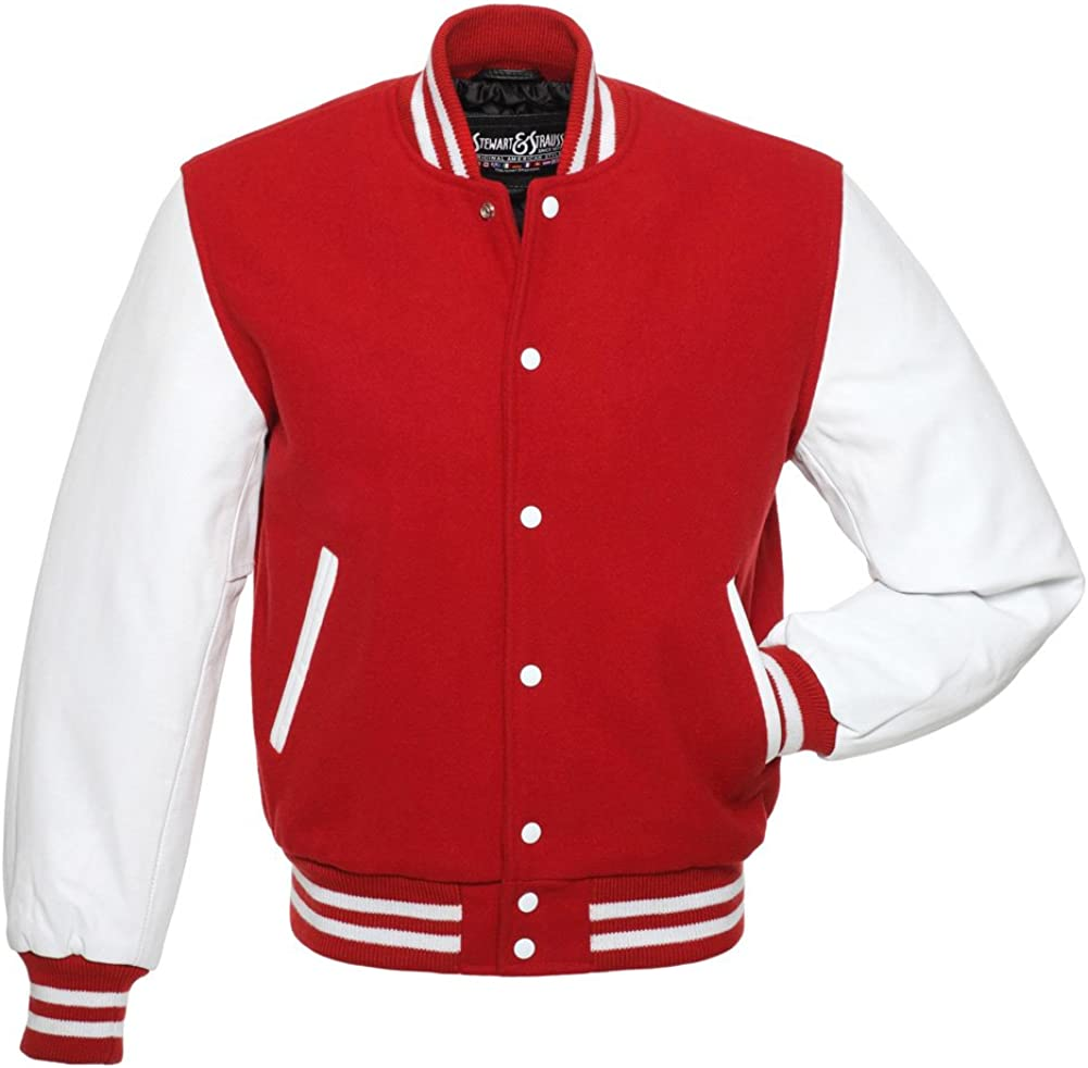 Stewart & Strauss Original Varsity Letterman Jackets (48 Team Colors) Wool & Leather XXS to 6XL