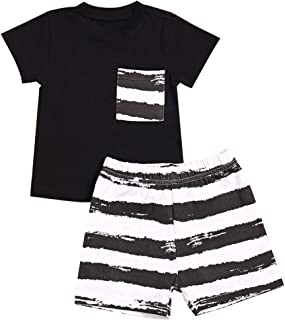 Baby Boys Clothes Black Tops Stripe Pocket Short Sleeve Top +Striped Pants Outfit Summer Clothing Set