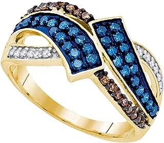 10k Yellow Gold Round Blue & Chocolate Brown Diamond Round Ring (1/2 Cttw)