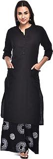 Pistaa's Women Cotton Flex Black Kurta With Palazzo Set