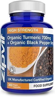 Cúrcuma orgánica 700mg con pimienta negra orgánica, 360 cápsulas. Certificado por la Soil Association. Vegetariano. Suministro De Todo Un Año.