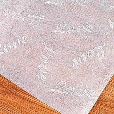 100 Ft LOVE Print Wedding AISLE RUNNER Long White Bridal