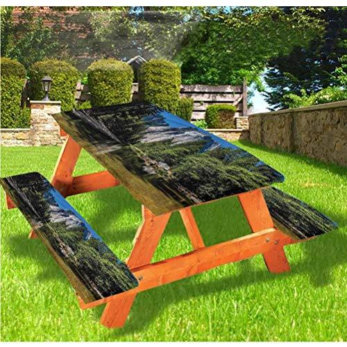Yosemite - Mantel ajustable para mesa de picnic y banco, diseño de granito con borde elástico, 70 x 72 cm, juego de 3 piezas para camping, comedor, al aire libre, parque, patio