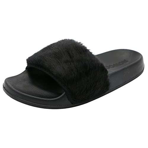 4e0dc17b05eb ROWOO Women Slip on Faux Fur Trim Flat Slipper Sandals (6 US   37 EU