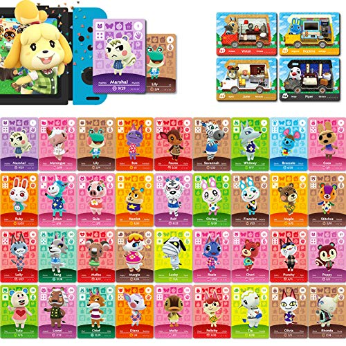 40 Pcs NFC Tag Mini Cards Rare Villager for Animal Crossing New Horizons Series 1-4 for Switch/Switch Lite/Wii U (Set A #1-36 + RV#1-4)
