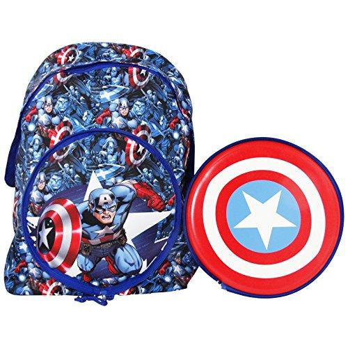 Marvel Capitan America Zaino Scuola Elementare Medie con Frisbee