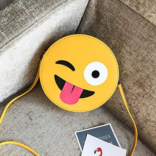 Reisen & FreizeitDamen Schulter Messenger Bag Pu Polyester Baumwolle Retro Kleine Runde Tasche Karikaturdruck Emoticon Pack, Klein@FrechMultifunktional