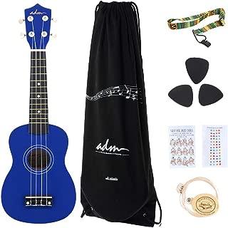 ADM Soprano Ukulele 21 Inch for Kids Beginner Ukelele, Starter Kit Strap, Aquila Strings, Picks,  Dark Blue