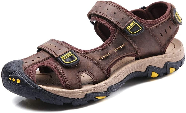 ANNFENG 2019 Mode Sommer Outdoor Mode Mode Sandale für Mann Outdoor Casual Strand Bequeme Schuhe Slip On Style OX Leder Klettverschluss Anti-Kollision Toe (Farbe   Dunkelbraun, Größe   47 EU)  gesund