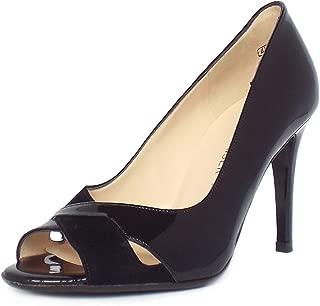 Del Alto Talón Peep Toe Zapatos Peter Kaiser Alda Mujeres En Mezcla De Ante Y Negro Patente