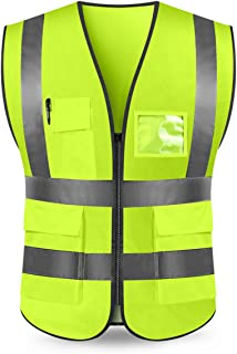 Kasthere High Visibility Reflective Safety Vest Construction Protective Vest with 5 Pockets and Front Zipper (Fluorescent Yellow, XXXL)