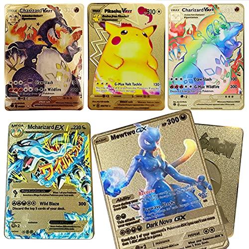 5Pcs Customized Metal Cards, Including 3 VMAX+1 GX+1 MEGA (Rainbow Gold Pokemon Card) Klassische Kollektion