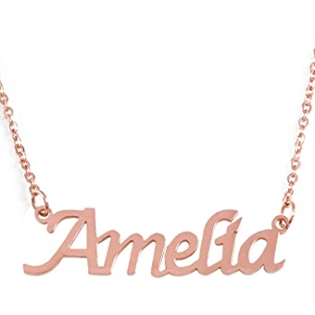 Zacria Meghan Name Necklace 18ct Rose Gold Plated