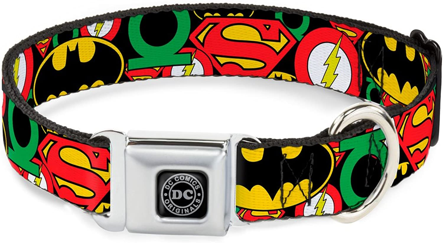 BuckleDown Seatbelt Buckle Dog Collar  Justice League Stacked Logos  1  Wide  Fits 915  Neck  Small