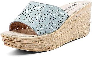 [ジョイジョイ] サンダル ミュール 夏 ウェッジヒール 履き脱ぎ簡単 サンダル用 カジュアル ブラック 白 可愛い お洒落 快適 通気 素朴 履き心地良い 衝撃吸収 編込み ボヘミア風 オシャレ歩きやすい